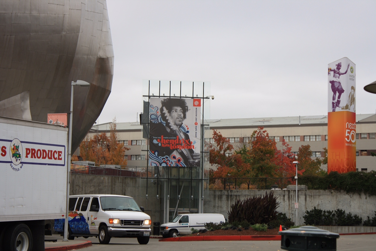 Hendrix poster in parking lot outside EMP