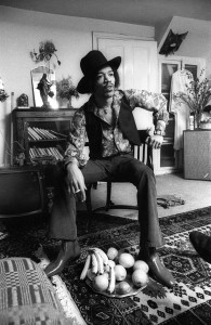 Jimi Hendrix sitting in 23 Brook Street