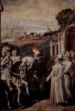 Painting Alcina receives Ruggiero, by Niccolò dell'Abbate fresco on canvas