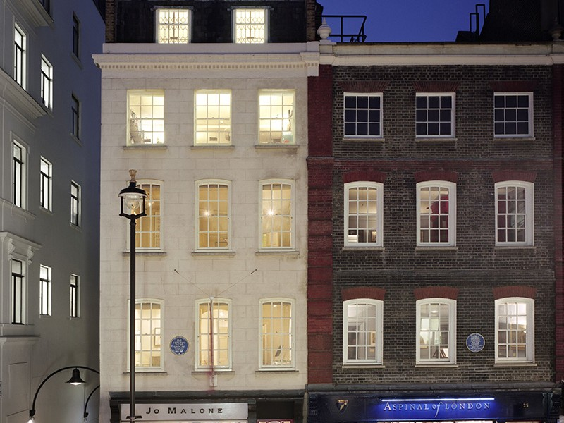 The outside of 23 and 25 Brook Street, Mayfair